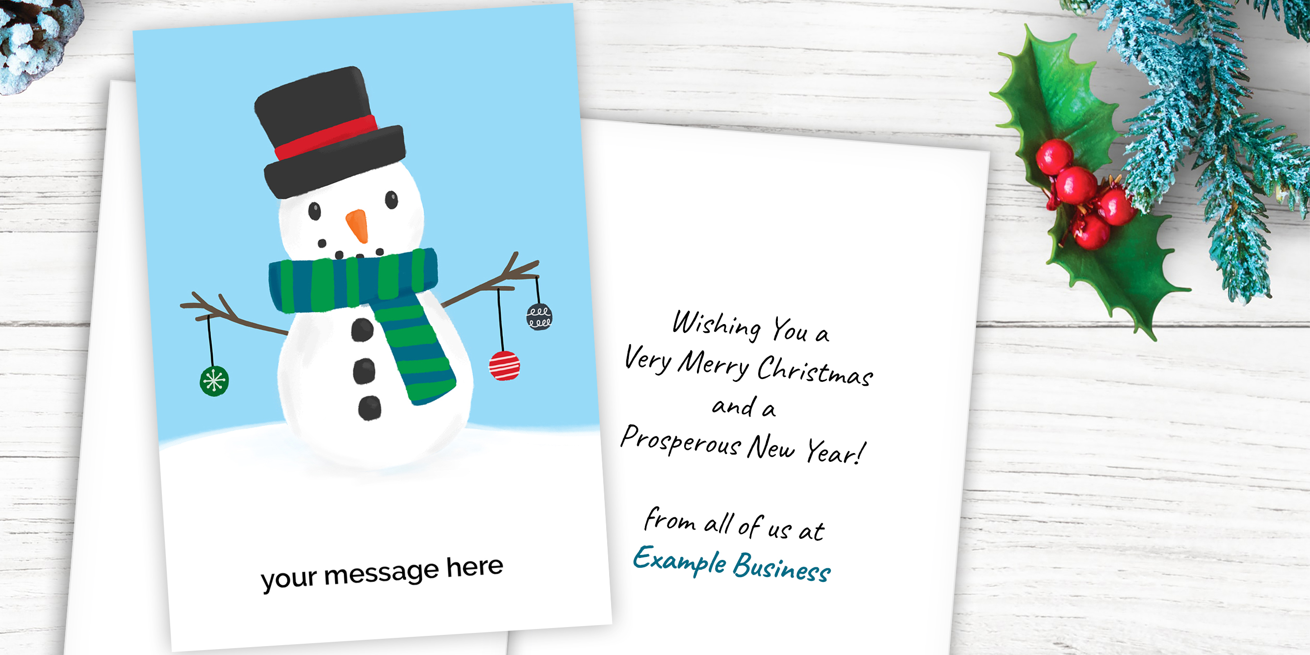 Custom Message Business Christmas Cards