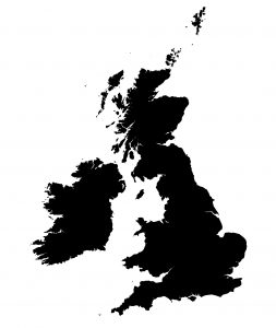 Detailed black and white map of United Kingdom.