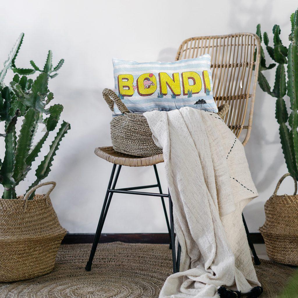 Streetart Society cushion from Mulga's collection, printed and handmade in Australia.