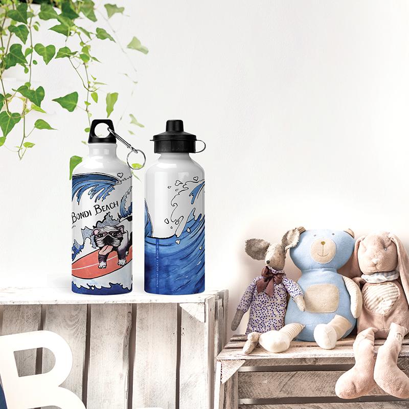 Streetart Society's Surfer Doggo Kids bottle, designed and hand-printed to order in Australia.