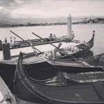 Twilight falls at The Gondola Getaway In Long Beach.