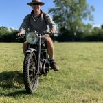 Riding his RJS Motorbike