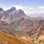 Panorama of the mountains. Lake Kulikolon. Pamir, Tajikistan. HDR