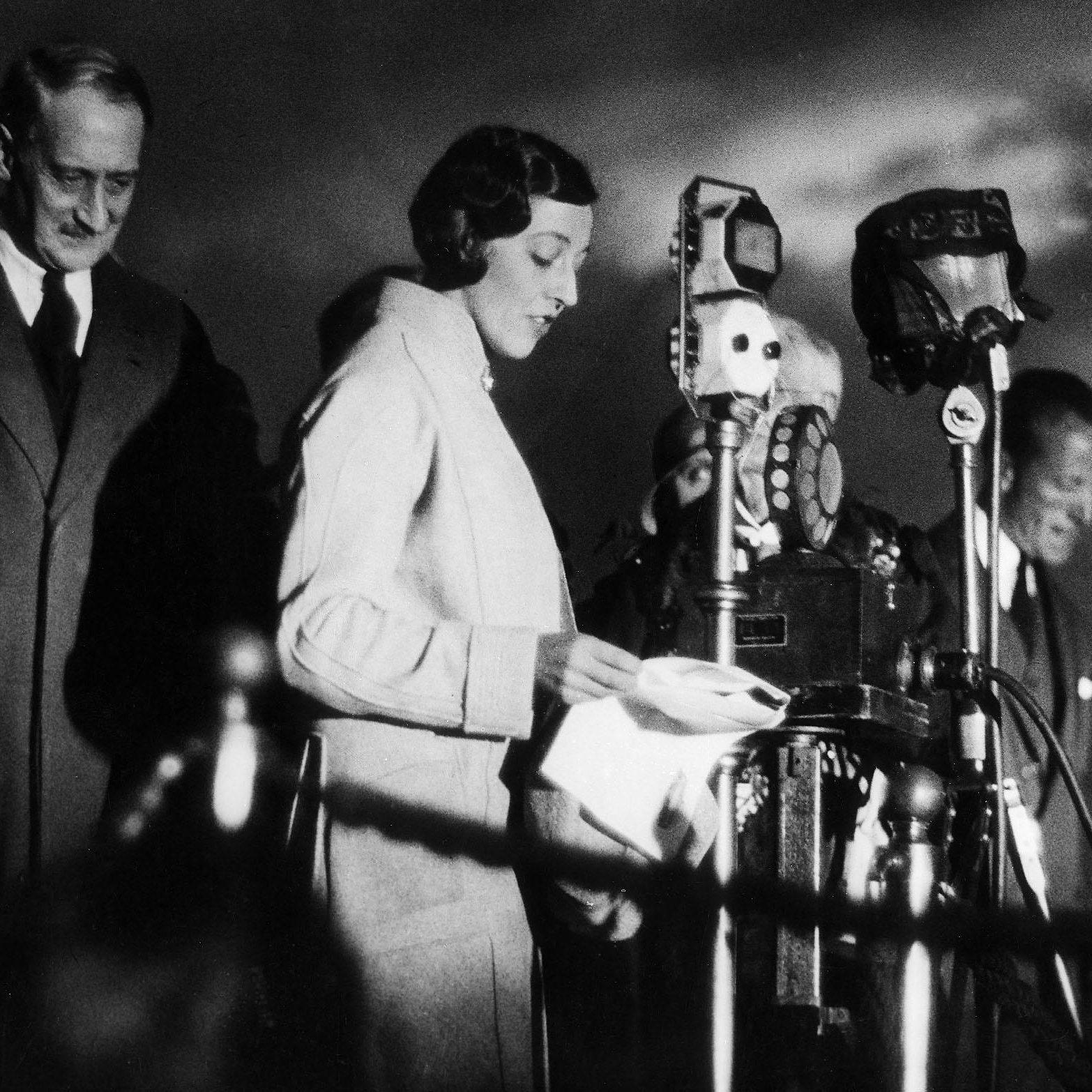 Amy Johnson talking on the radio in 1930