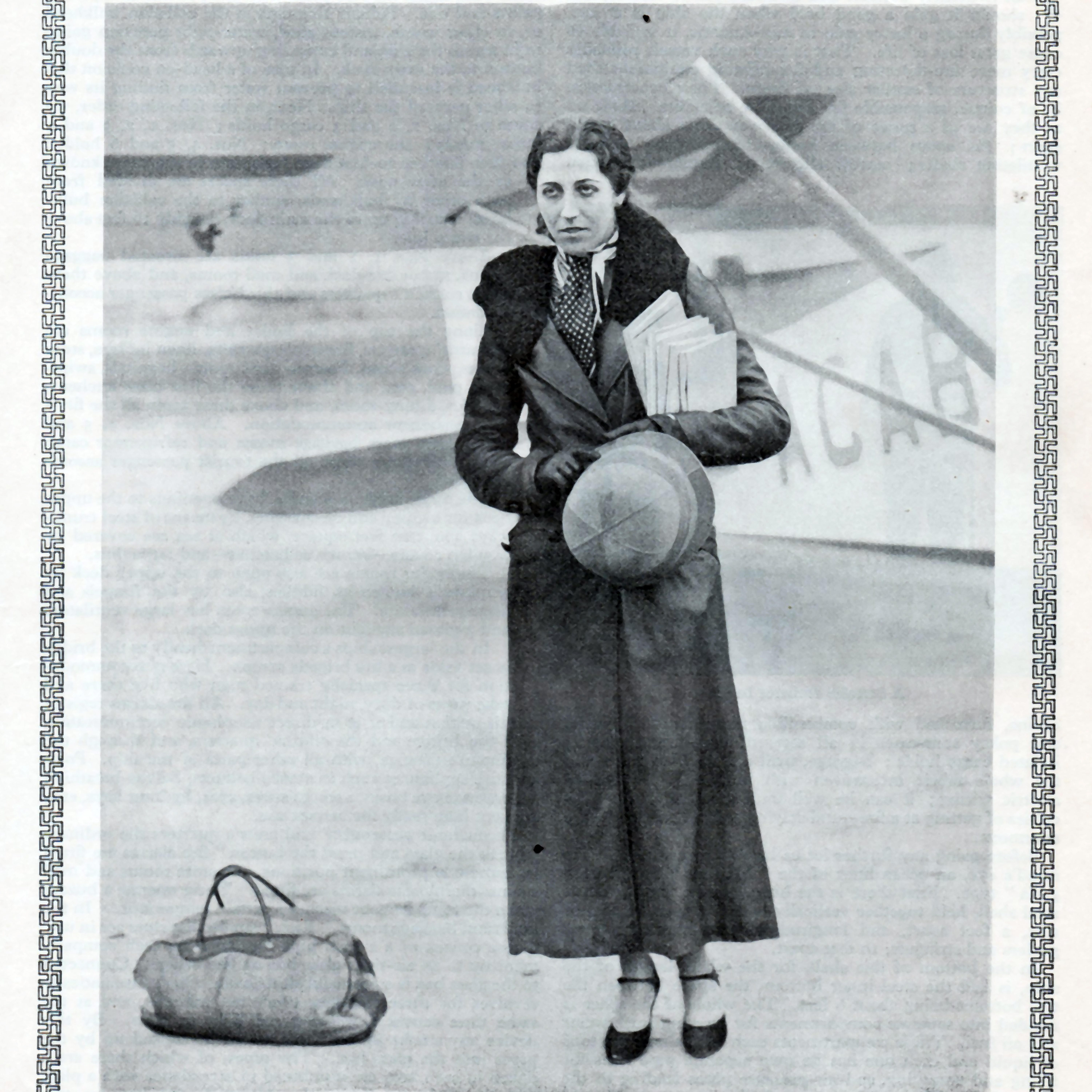 K82X43 Full length portrait of  AMY JOHNSON, Pilot (aka Mrs J A Mollison), Vice President of the Order of Skywaymen, (the Boys Own Paper Model Flying League) - An illustration  from the BOYS OWN ANNUAL 1932/1933
