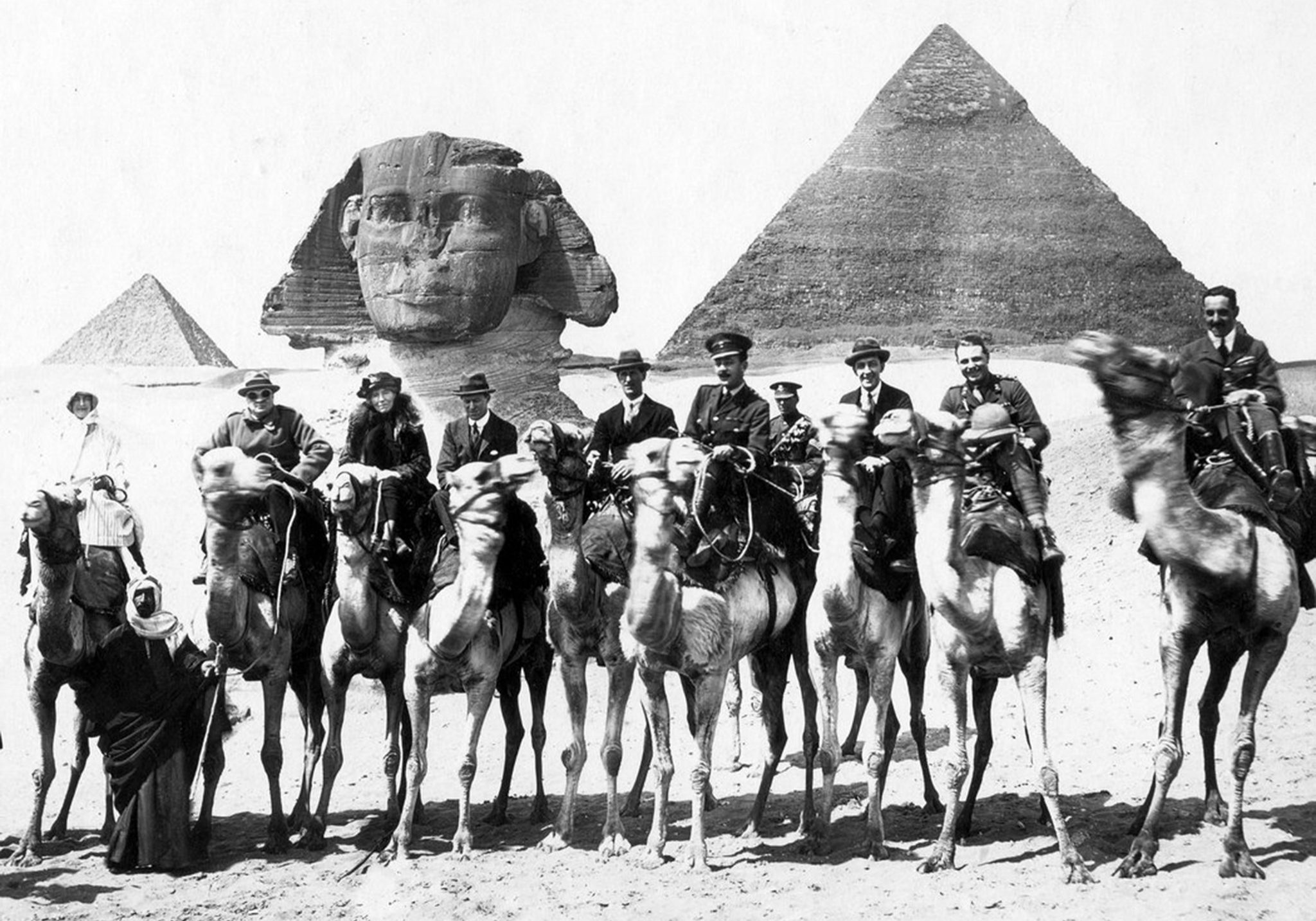 Gertrude Bell, T. E. Lawrence and Winston Churchill, at Giza during the 1921 Cairo Conference