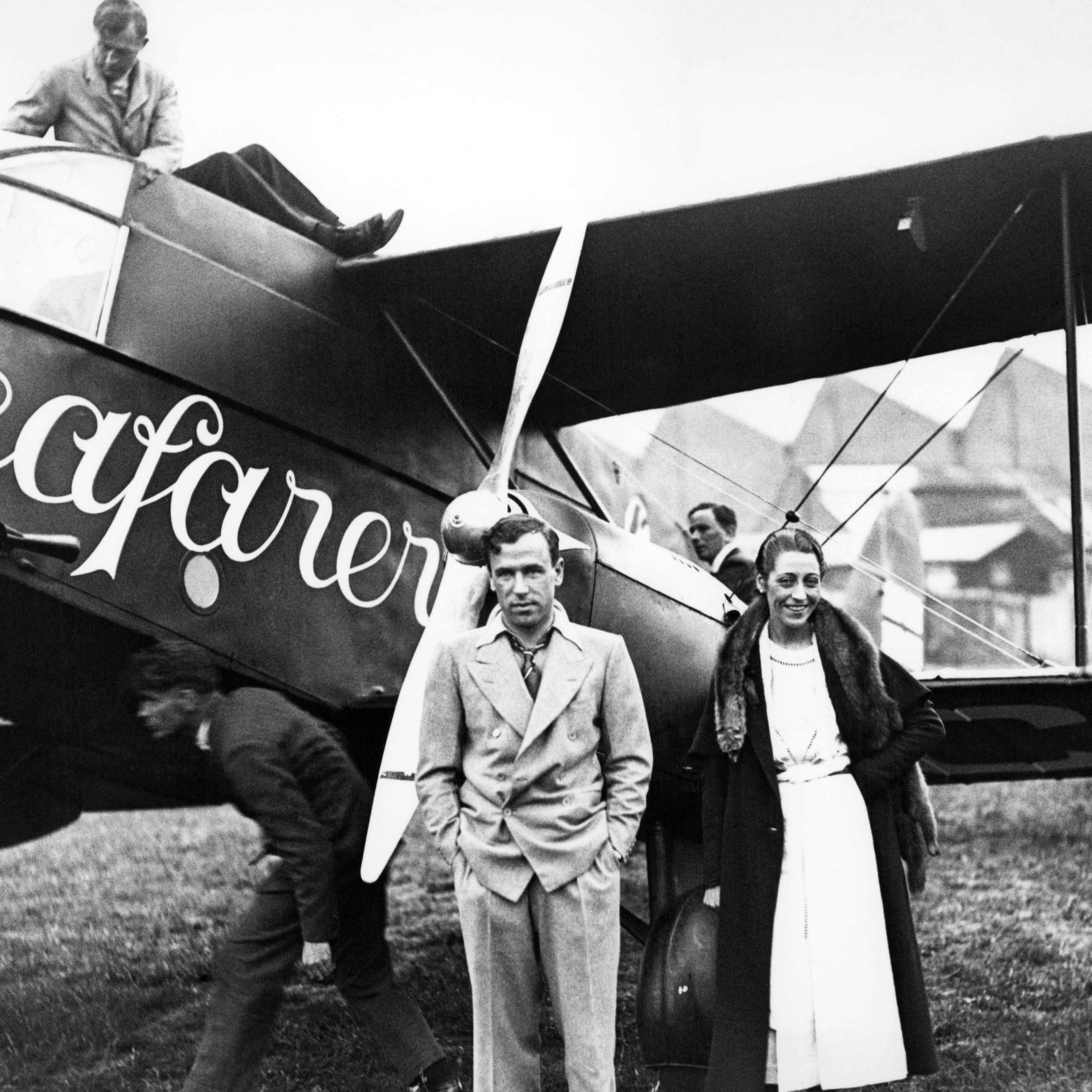 Mr and Mrs. J Mollison, before flying to America