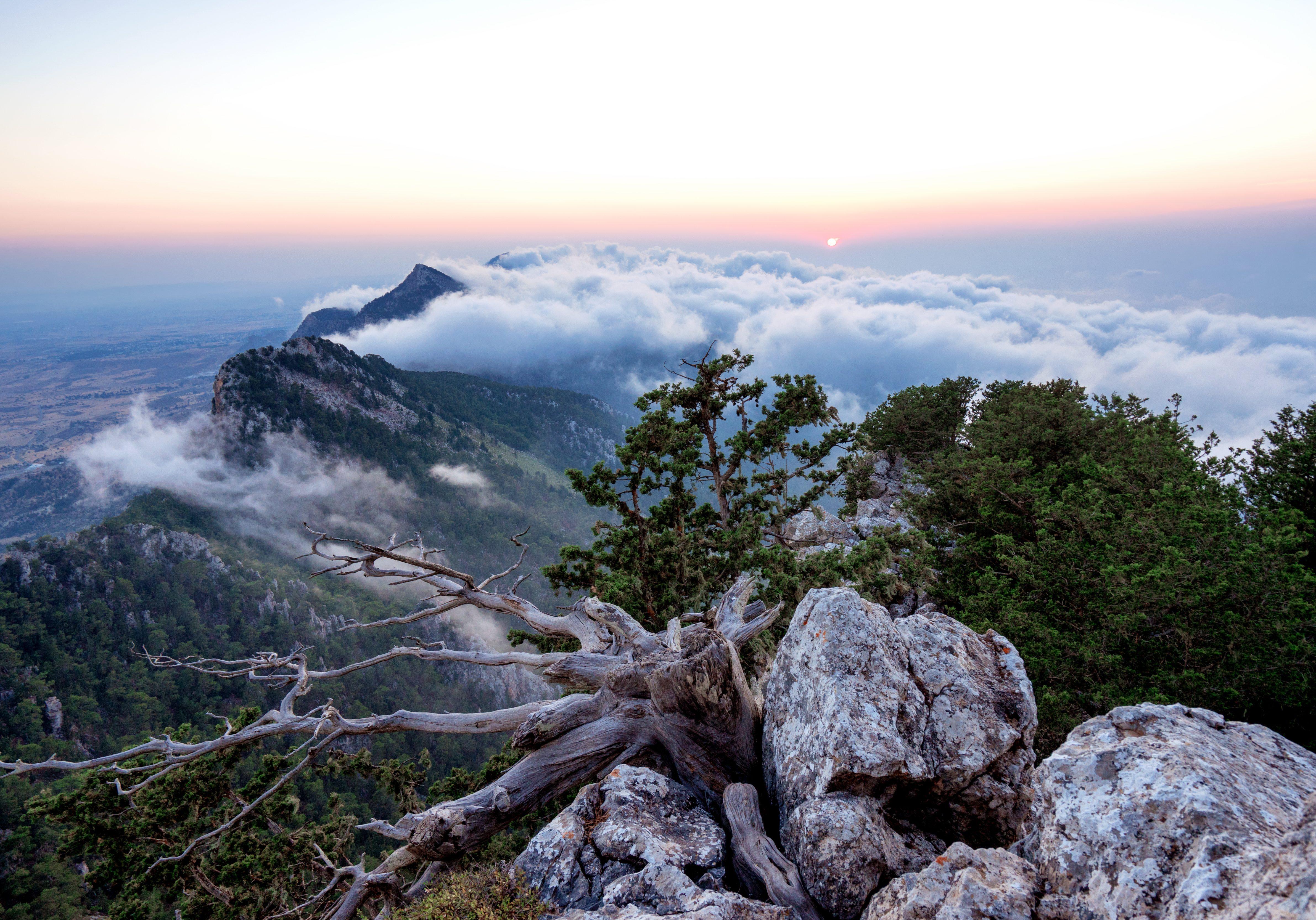 Sunset on the top of Kirenya Mountains, Northen Cyprus