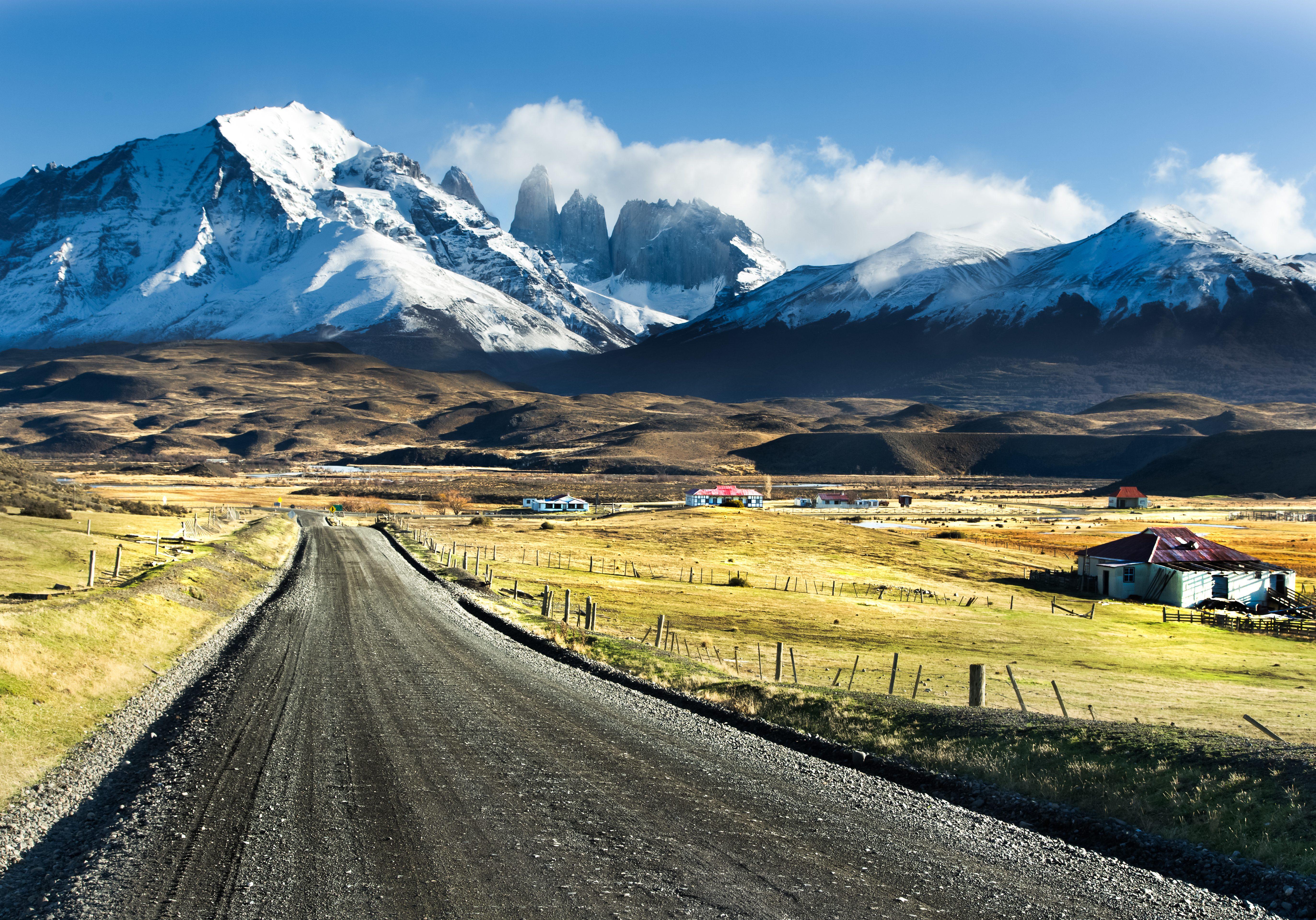 Road leading towards Torres del Paine National Park