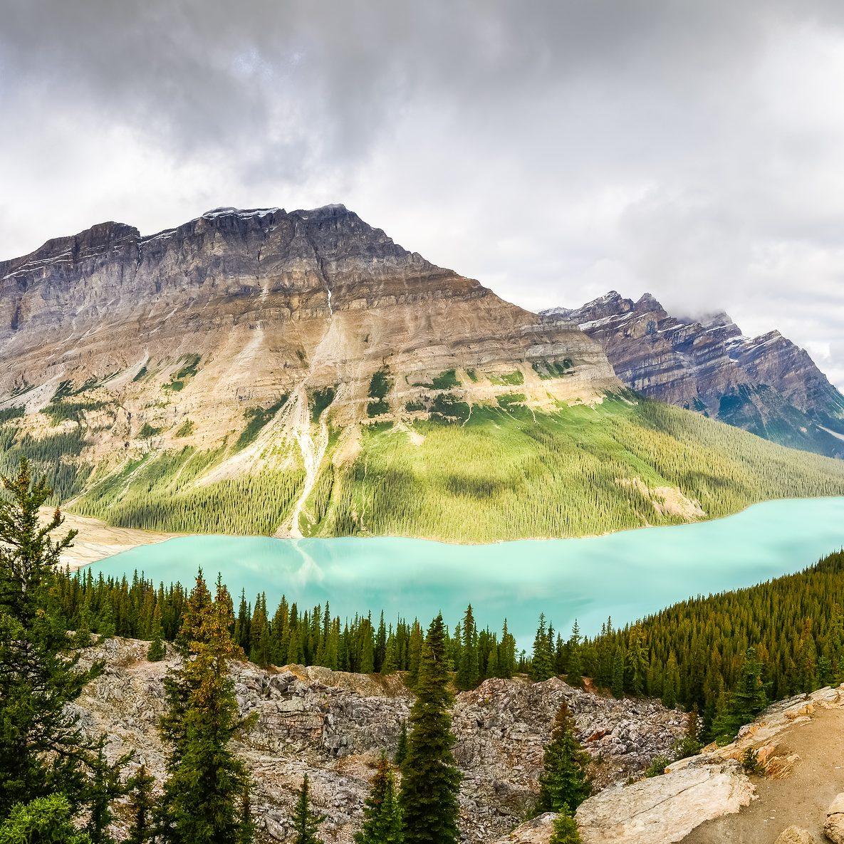 Panoramic view of Peyto lake and Rocky mountains Alberta Canada