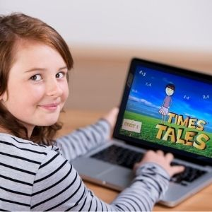 Girl using Times Tales on the computer to memorize the times tables.