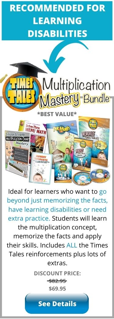 Times Tales Multiplication Mastery for Learning Disabilities - helps students with dyslexia and dyscalculia memorize the times tables fast