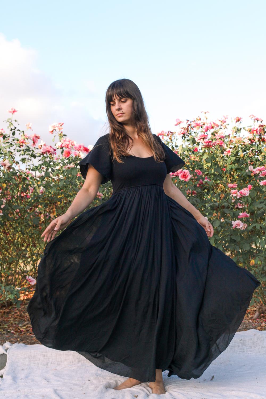 Goddess Dress black maxi sleeve-10