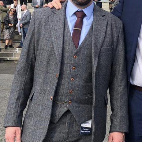 Chris wearing grey estate Tweed suit