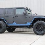 2015 jeep wrangler unlimited jk black blue kevlar lower right side angle