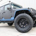 2015 jeep wrangler unlimited jk black blue kevlar right front angle