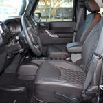 2015 jeep wrangler unlimited jk front seat custom leather black with white stitching