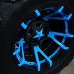 2016 jeep wrangler unlimited jk 20×12 KMC Wheels Rockstar 3 with blue painted accents