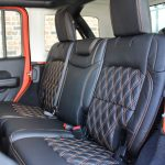 2018 jeep wrangler unlimited jl rear seat custom leather black orange stitching