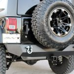black 2016 jeep wrangler unlimited jk DV8 rear bumper with D-rings and hitch RBSTTB-04