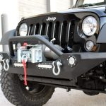 black 2016 jeep wrangler unlimited jk DV8 FS-7 winch mount front bumper with LED Lighting and over rider hoop FBSHTB-07