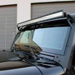 black 2016 jeep wrangler unlimited jk Rough Country 70504 upper windshield mount with DV8 B50CE300W3W 50″ LED light bar