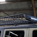 green kevlar 2014 jeep wrangler unlimited jk Rugged Ridge Sherpa roof rack 11703.02 with Yakima Megawarrior basket