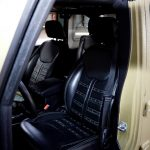 green kevlar 2014 jeep wrangler unlimited jk Custom pattern black leather front seats with green stitching