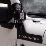 white 2018 jeep wrangler unlimited jl Rigid Industries dual pillar mount 40335 with Rigid Industries Dually LED lights 202213