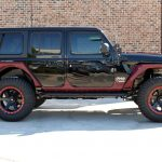 2020 jeep wrangler unlimited jl black & maroon right side angle