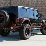2020 jeep wrangler unlimited jl black & maroon right rear angle