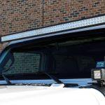 "white 2019 jeep wrangler unlimited jl DV8 50″ LED light bar B50CE300W3W A-pillar mounted DV8 3"" cube LED lights B3CE20W5W"