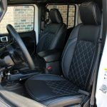 white 2019 jeep wrangler unlimited jl Custom pattern black leather front seats with white stitching