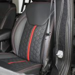 black kevlar 2014 jeep wrangler unlimited jk Custom pattern black leather front seats with red stitching & stripe