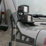 sting gray 2020 jeep wrangler unlimited jl DV8 A-pillar mount LBJL-02 with (4) DV8 3″ cube LED lights B3CE20W5W
