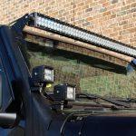 """black 2020 jeep gladiator jt Zroadz windshield mount with DV8 50″ LED light bar B50CE300W3W DV8 3"""" cube LED lights B3CE20W5W"""