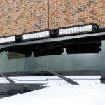 white 2018 jeep wrangler unlimited jk Rugged Ridge upper windshield mount with (3) 13.5″ LED light bars 11232.26