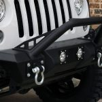 white 2018 jeep wrangler unlimited jk DV8 winch mount front bumper with LED lighting, D-rings, over rider hoop FBSHTB-11