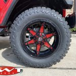 2020 Firecracker Red JT Gladiator 20×10 Ballistic Off Road Warrior wheels in gloss black with red 35x12.50R20 Mud tires