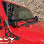"""2.5"""" Rough Country Suspension Lift DV8 A-pillar mount with DV8 3″ cube LED lights"""