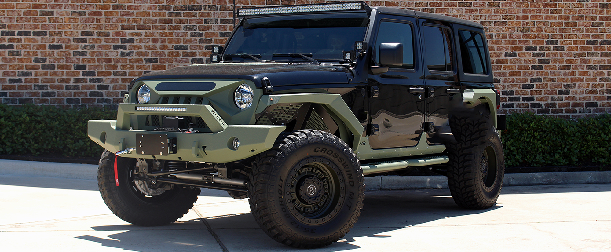 2020 Black and Green JL Jeep Left Fro