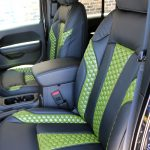 2020 Black and Green JL Jeep Custom Leather Black with Green insert front