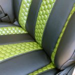 2020 Black and Green JL Jeep Custom Leather Black with Green insert front detailed