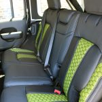 2020 Black and Green JL Jeep Custom Leather Black with Green insert rear
