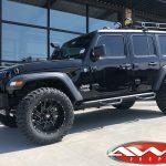 "Black JL Jeep 20x10 2.5″ lift Ballistic 961 ""Guillotine"" wheels gloss black milled accents 35″ tires snorkel rack lights"