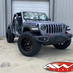"2020 Sting-Gray JL Jeep 20x12 Ballistic Offroad 959 ""Rage"" wheels in gloss black with red 35x13.50R20 Venom Power A/T Tires"