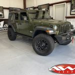 2020 Sarge Green JL Jeep 2.5″ Mopar Jeep lift fox shocks right front angle