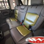 2020 Sarge Green JL Jeep Custom black leather seats with green inserts