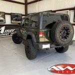 2020 Sarge Green JL Jeep 2.5″ Mopar Jeep lift fox shocks left rear angle
