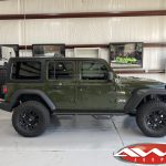 2020 Sarge Green JL Jeep 2.5″ Mopar Jeep lift fox shocks side angle